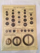 Vintage Salesmans Card 31ea Militaries Equipments Buttons Varies Sizes and Color