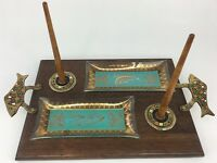 VINTAGE ISRAELI ENAMELED BRASS WOOD SERVING TRAY W/ GLASS LOX & CHEESE TRAYS