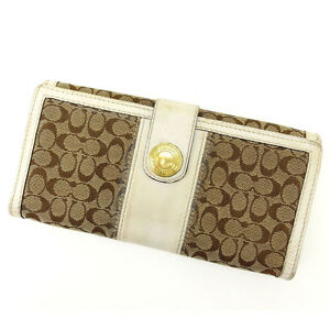 Coach Wallet Purse Long Wallet Signature White Woman Authentic Used F686