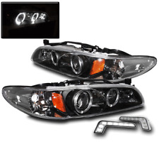 1997-2003 PONTIAC GRAND PRIX BLACK HALO PROJECTOR HEAD LIGHTS+WHITE LED DRL LAMP