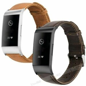 Leather Wristband Watch Band Strap Bracelet For Fitbit Charge 3 / Charge 4 / SE