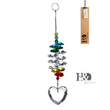 Heart Shaped Hanging Suncatcher Crystal Prism Fengshui Pendants Car Mirror 38mm