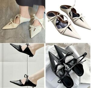 MW010680 - FASHION DOUBLE BOWS POINTED TOE MULES (SIZE 34 - 40)