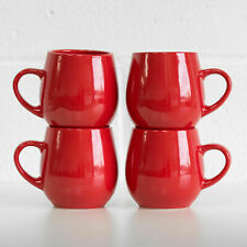 Set of 4 Glossy Red 450ml Barrel Stoneware Mugs Coffee Cups Hot Chocolate Tea