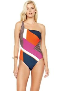 $188 GOTTEX COLLECTION 12 (M-L) Maritime Orange One Shoulder One Piece Swimsuit