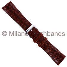 20mm deBeer Havana Alligator Grain Padded Genuine Leather Mens Watch Band Short