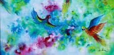 Parrots painting, modern birds art, colourful birds oil painting on canvas