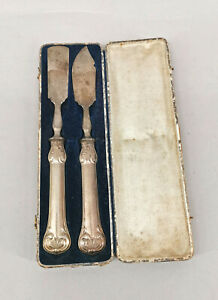 99830322 Silver Plated Butter And Cheese Cutlery Historicism IN Case 19.Jh