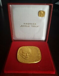 Yugoslav society - NIKOLA TESLA  Gild plaque award / medal in the box,miniature