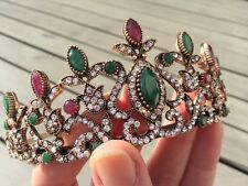 Antique Gold turc Tiara Branch Head Piece Green Red Indian Agate Mariage