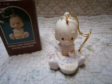 Precious Moments Ornament Babys 1st First Christmas 1990 Girl/Pie w/Box