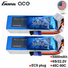 2 Packs Gens Ace 5000mAh 45C 22.2V Lipo 6S Battery for RC Helicopter Boat Cars
