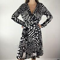 Vicky Tiel Size Medium Black White Abstract Print Wrap Dress Long Sleeve Womens