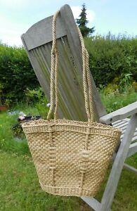 Vintage Woven Straw Long Handled Shoulder Tote Shopping Beach Basket Bag
