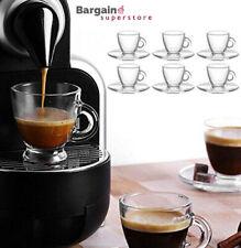 Table Tea Coffee Cappuccino Espresso Drink Glass Cup Mug & Saucer Base Set 12pc