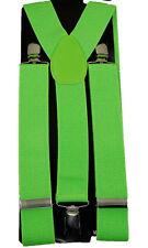 "Unisex Clip-on Braces Elastic ""Neon Green"" Y -Back Suspender 1 1/2"""