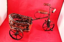 """Vintage 12"""" Wrought Iron & Wood Bicycle/Tricycle Stand Holder or Display Decor"""