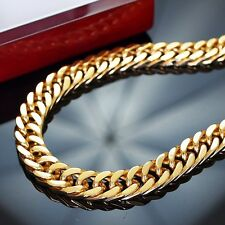 180g Men Stainless Steel Chain 24K Gold Plated Necklace Heavyweight Hip Hop