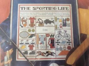 """Vtg Counted Cross Stitch Kit """"The Sporting Life"""" #50621 14X14 ~ SHIPS FREE"""