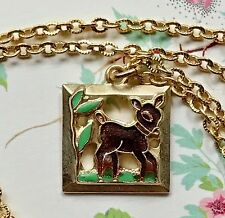 Bambi Necklace,Deer Necklace,child necklace,Vintage Necklace,Guilloche new #G27F