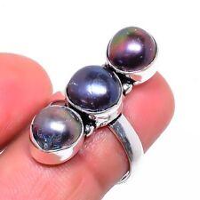 Jewelry Ring Size Adst. Sr-346 Titanium Pearl Gemstone Handmade Ethnic Fashion
