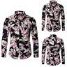 Men's Casual Floral Formal T-shirt Long Sleeve Stylish Tops Slim Fit Dress Shirt