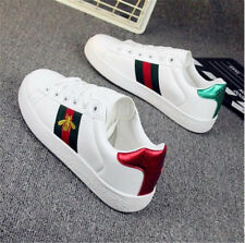 Women's Small Bee Embroidery Flat Sports Shoes Sneakers Running Shoes Trainers