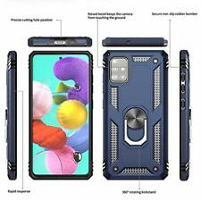 Samsung Galaxy A51 Case Glass Screen Protector Car Ring Holder Kickstand Blue