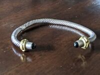 Vintage Mexico 925 Sterling Silver Onyx Tipped Rope Cuff Bracelet Adjustable 25g