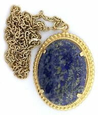 40x30 40mm x 30mm Lapis Cabochon Gemstone Goldplated Pendant Chain EBS2093D