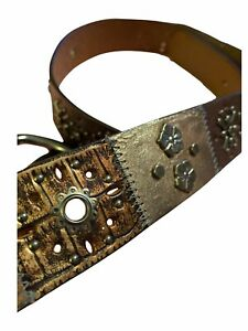 Fossil Womens Brown Leather Belt Embellished Studs Embroidered Boho Patch Size L