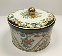 Vtg DAHER Round TIN With Lid Floral Box Company Long Island NY Made in England