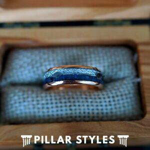 6mm Lapis Lazuli Ring 18K Rose Gold Womens Wedding Band Meteorite Ring w/ Arrow