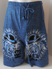 Ed Hardy Men's Lounge 100% Cotton Shorts Tiger Top Hat Tattoo Print Size L New