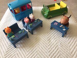 Peppa Pig School Classroom Set With School Bus Madame Gazelle's Car & Figures