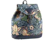 Signare Ladies Tapestry Rucksack / Backpack Bag In Strawberry Thief Blue Design