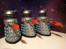"""DOCTOR WHO 3 x DALEKS WITH PYROFLAME THROWERS 5"""" CLASSIC FIGURES LOT BUNDLE"""