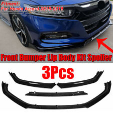 FOR HONDA ACCORD 10TH 2018-2020 3PC STYLE GLOSSY BLACK FRONT BUMPER LIP SPLITTER