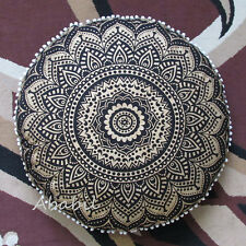 "32"" Black Golden Mandala Floor Pillow Cushion Pouf Cover Round Pillow Cover Arts"