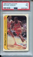 1986 Fleer Basketball Sticker #8 Michael Jordan Rookie Card Graded PSA Nr Mint 7