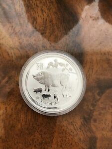 Silver Bullion Coin 1 X Perth Mint Year Of The Pig 2019 In Capsule 1 Oz RARE