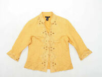 Anne Carson Womens Size L Silk Yellow Sequin Jacket