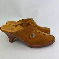 Cole Haan Womens Mule Shoes Brown Split Toe Block Heels Slip Ons 7.5 B