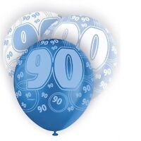 Blue Glitz 90th Birthday Age 90 Pack 6 Latex Party Balloons Suit Air Or Helium