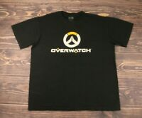 Blizzard Overwatch Logo Mens Large Graphic Tee T-shirt Gamer  Black  100% Cotton