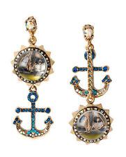 Betsey Johnson B09763-E01 Gold-Tone Anchor & Sail Boat Bauble Mismatch Earrings