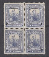 PERU, 1895 President's Installation 1c. Slate Violet, ABN Punched Proof, block 4