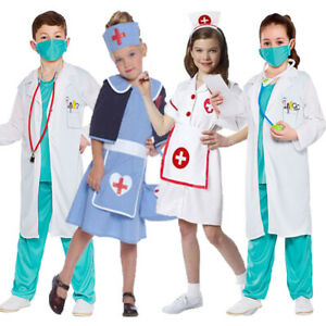 Kids Doctor Nurse Costume Medical Uniform Scrubs Book Day Halloween Party Outfit