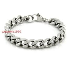 Chain Bracelet Unisex Men 10mm 8.66'' Stainless Steel silver Square Curb Link