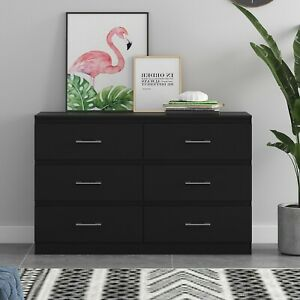 6 Drawer Chest of Drawers - Matt Black - Tromso - Modern Furniture